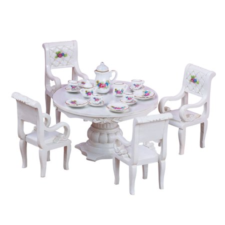 Miniature Tea Party Dining Table Set, Collectible Figurines - 20pc