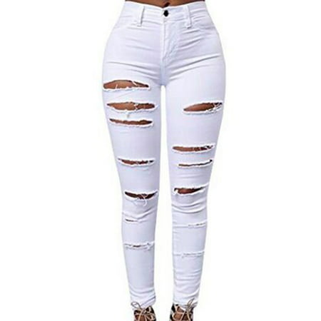 Middle Waist Women Casual Ripped Jeans Skinny Denim Pencil - 21 Waist