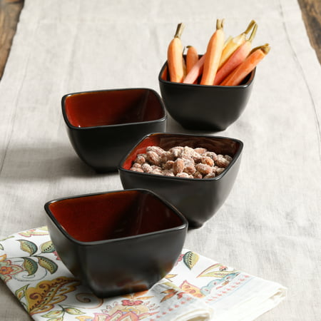 GIBSON HOME SOHO LOUNGE 4-PIECE SQUARE TIDBIT BOWL SET