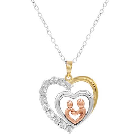 Amanda Rose Tri Colored Sterling Silver Mother and Child Diamond Heart Necklace