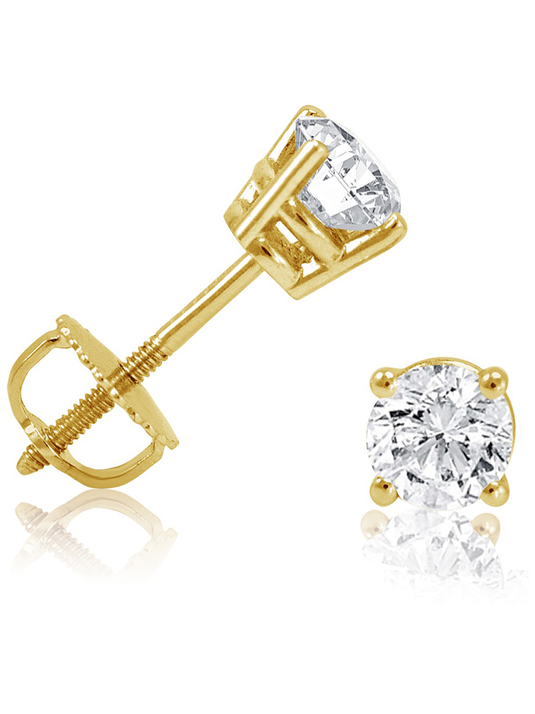 14K Yellow Gold 1/2ct TW Round Diamond Stud Earrings with Screw-Backs IGI Certified