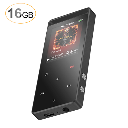 AGPTEK 16GB Sport MP3 Player with FM Radio/Voice Recorder, Lossless Metal Touch Screen Music Player (up to 128