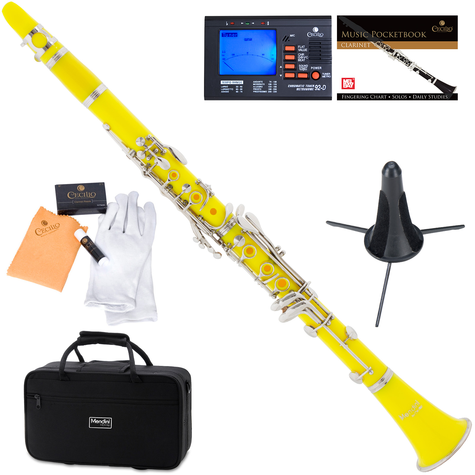 Mendini by Cecilio MCT-YL Yellow ABS Bb Clarinet w/1 Year Warranty, Stand, Tuner, 10 Reeds, Pocketbook, Mouthpiece, Case, B Flat