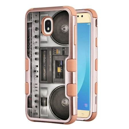 3-Layer Case for Samsung Galaxy J7 Crown / J7 aura / J7 Star / J7 Refine / J7 (2018), OneToughShield ® Hybrid Shockproof Protector Phone Case (Rose Gold Color) - Boombox
