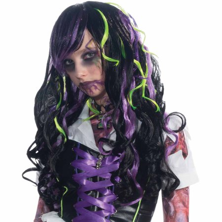 Black with Purple and Green Streaks Wig Halloween Costume Accessory