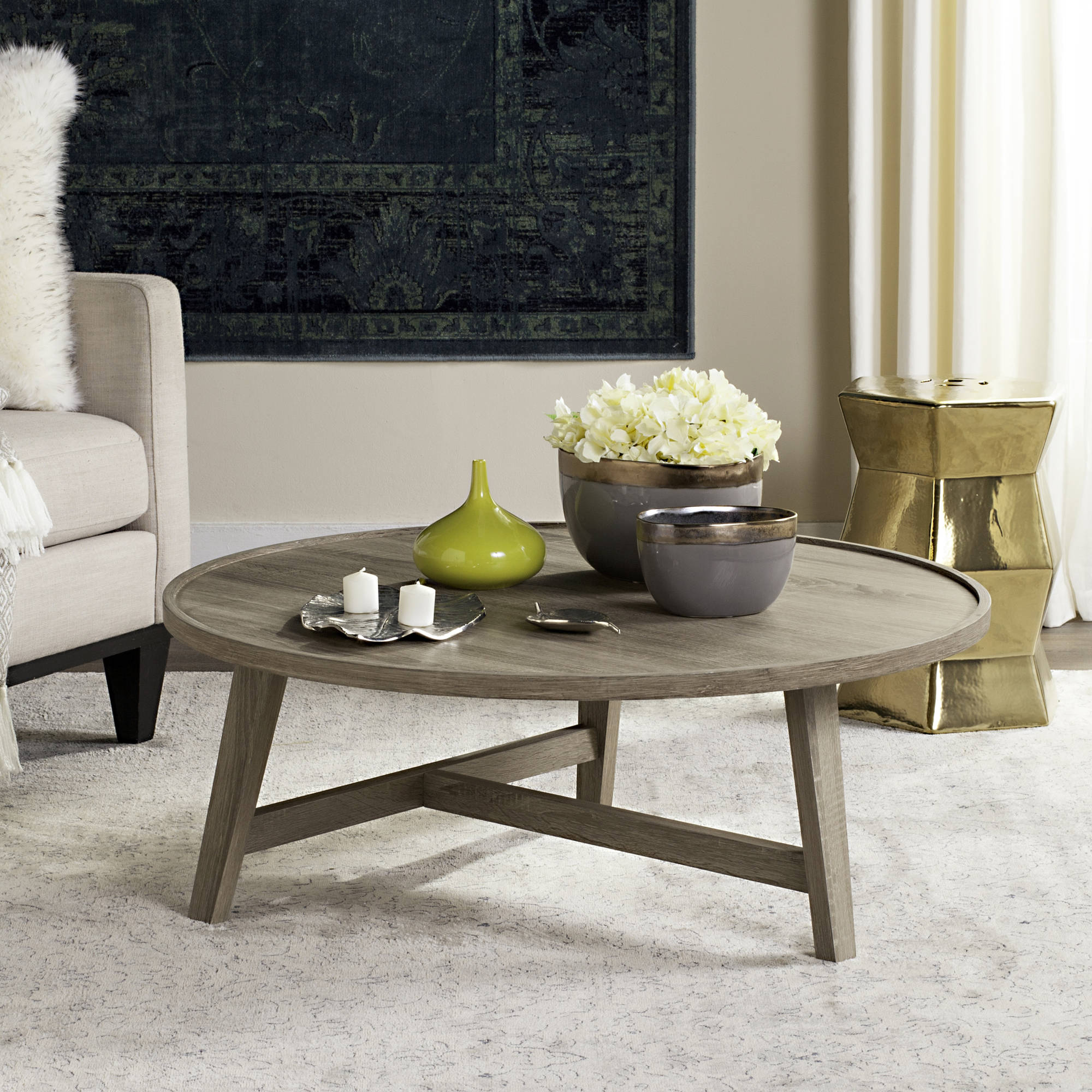 "Safavieh Malone 35"" Round Retro Mid Century Coffee Table, Multiple Colors"