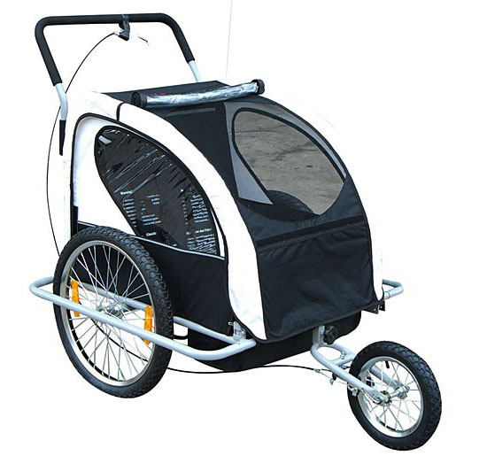 Aosom 2-in-1 Double Child Bike Trailer and Stroller - Black