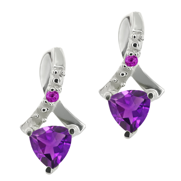 0.44 Ct Trillion Purple Natural and Simulated Amethyst 18k White Gold Earrings