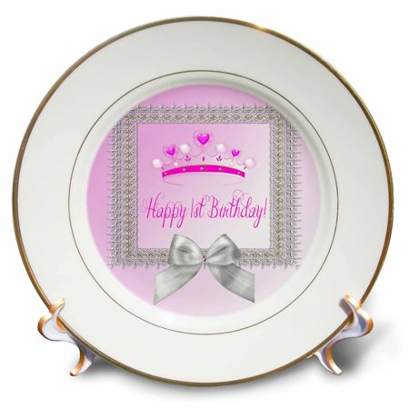 3dRose Princess Crown Beautiful Silver Frame, White Bow, Happy 1st Birthday - Porcelain Plate, 8-inch