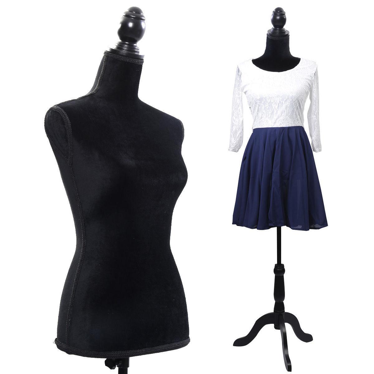 Costway Black Female Mannequin Torso Dress Form Display W/ Black Tripod Stand