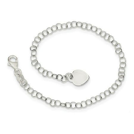Heart Lock Charm Pendant (Solid 925 Sterling Silver Heart Pendant Charm Childs Bracelet 6