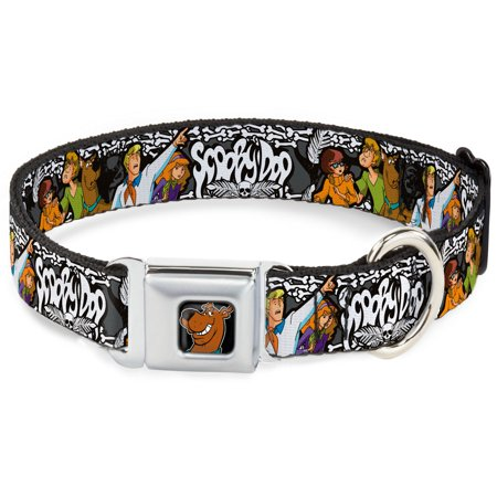Dog Collar SDC-Scooby Doo Face Full Color Black - SCOOBY DOO Group Pose Pet Collar - Scooby Doo Dog Collar