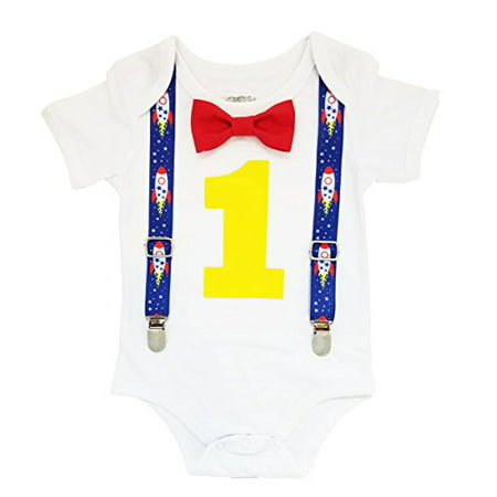 Noah's Boytique Space Rocket Astronaut Theme First Birthday Party Cake Smash Outfit Blue Red Yellow 12-18 Months](Astronaut Outfits)