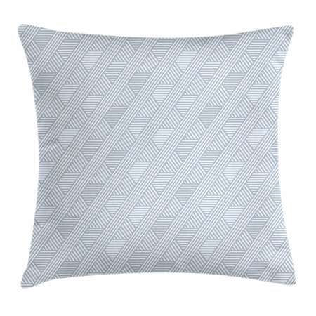 Stripes Throw Pillow Cushion Cover, Monochrome Diagonal Lines Geometric Composition Modern Minimalist Design, Decorative Square Accent Pillow Case, 16 X 16 Inches, Bluegrey and Coconut, by Ambesonne ()