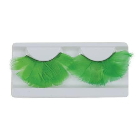 Loftus Showgirl Costume Feather 2pc Eyelashes, Green, One Size - Showgirls Costumes