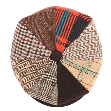 8e814362f Sakkas Jay Gatsby 8 Panel Wool Newsboy Paperboy Snap Brim Cap Hat - Brown /  Orange - M