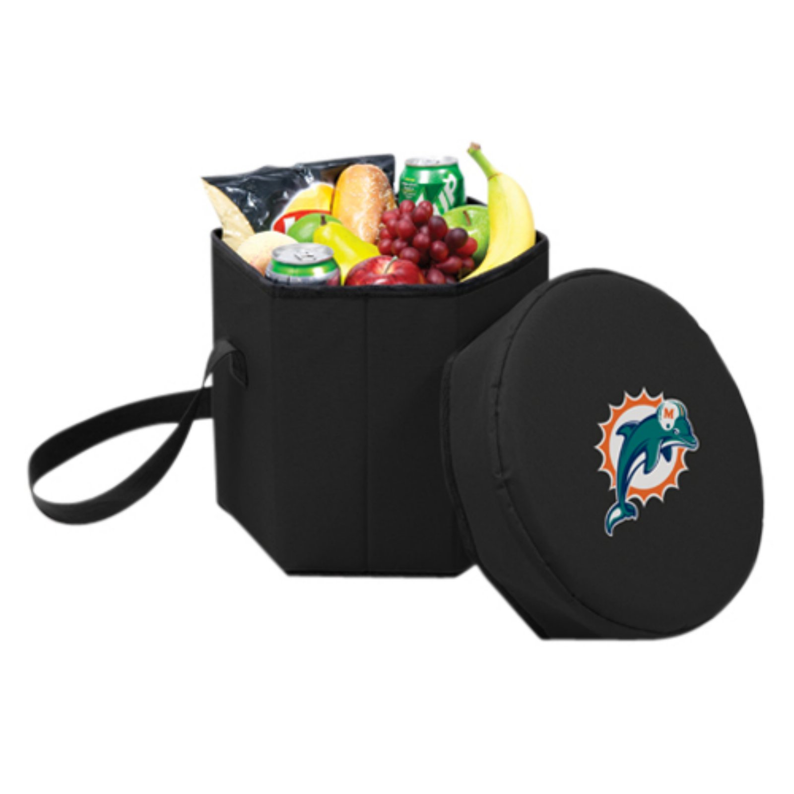 Picnic Time Bongo Cooler, Black Miami Dolphins Digital Print
