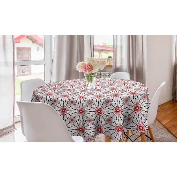 Geometric Round Tablecloth Trippy Flower With Shapes In New Modern Image Circle Table Cloth Cover For Dining Room Kitchen Decor 60 Red Black White By Ambesonne Walmart Com