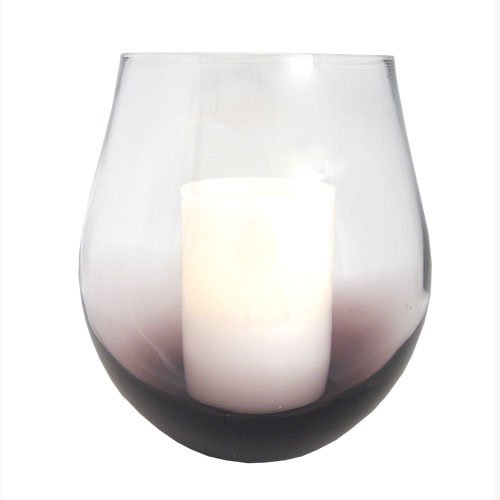 Purple Bordeaux Glass Hurricane Flameless Candle Holder with Timer Candle by Bigbolo