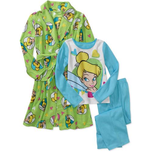 Disney - Girls' Tinkerbell 3 Piece Pajamas And Robe Set