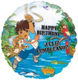 Go Diego Go! 18 inch Mylar Happy Birthday Balloon.
