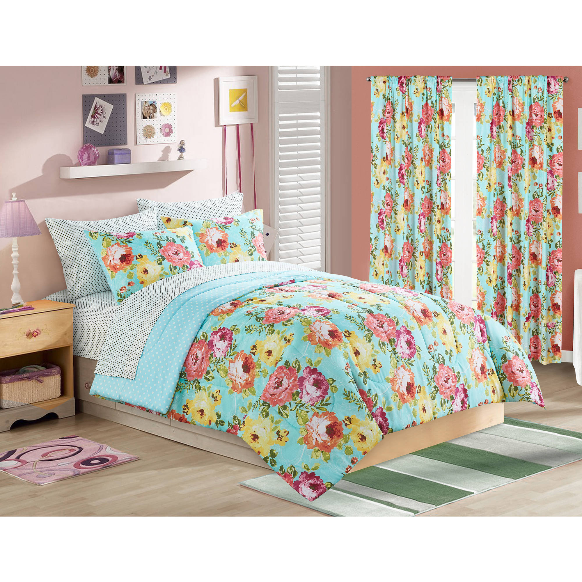 your zone madelyn floral bed in a bag bedding set  walmartcom -