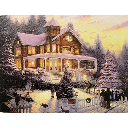 Christmas LED Wall Art - Winter Scene with a Victorian House in a Snowy Setting - Christmas Lights in the Trees Light
