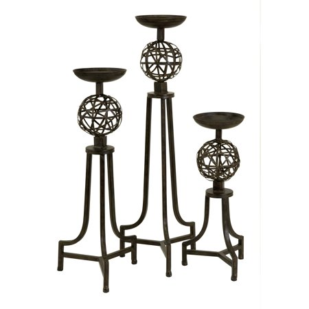 Mesh Metal Sphere Candlesticks - Set of 3