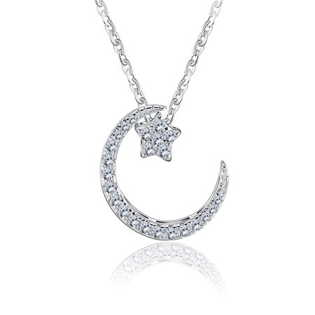 - Ginger Lyne Collection Moon and Star Sterling Silver Clear CZ Pendant Necklace Water Waves chain