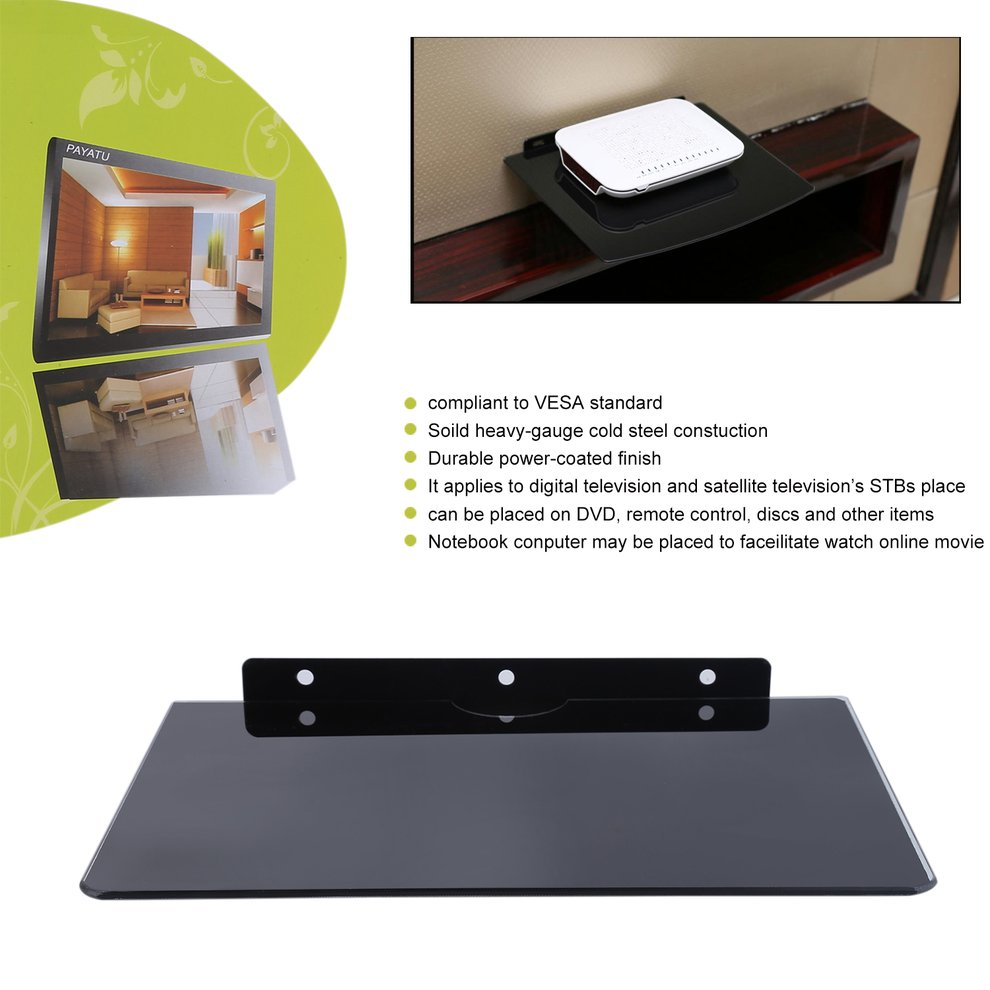 Wall Mount Component Floating Shelf Smart Set Top TV Box DVD Game Console Tempered Glass Bracket Holder Black