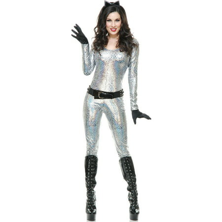 Women's Silver Metallic Leopard Print Jumper Bodysuit Costume](Halloween Jumpers Rentals)