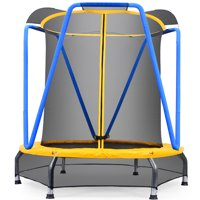 Zupapa 54 inch 4.5FT Indoor Small Trampoline for Kids Children Ultra Quiet Mini Toddler Baby Trampoline with Enclosure Net Bungee Cords Trampoline with Flower Modelling