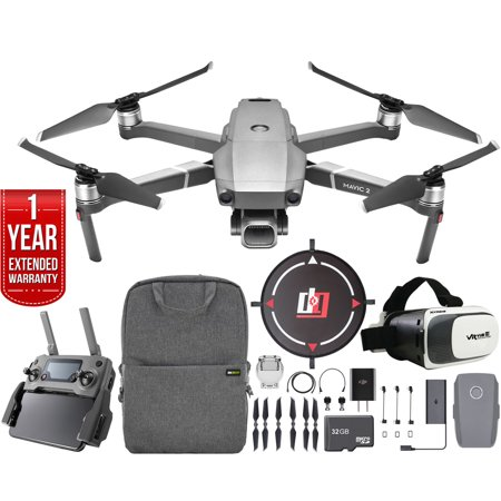 DJI Mavic 2 Pro Drone Mobile Go Kit with Hasselblad Camera 1-inch CMOS Sensor and Landing Pad, VR FPV Goggles, Backpack, High Speed Memory Card & One Year Warranty Extension Bundle