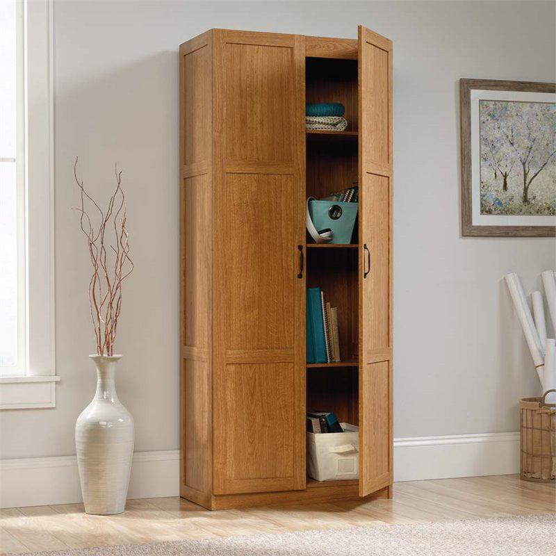 Sauder Storage Cabinet Highland Oak Finish Walmart Com
