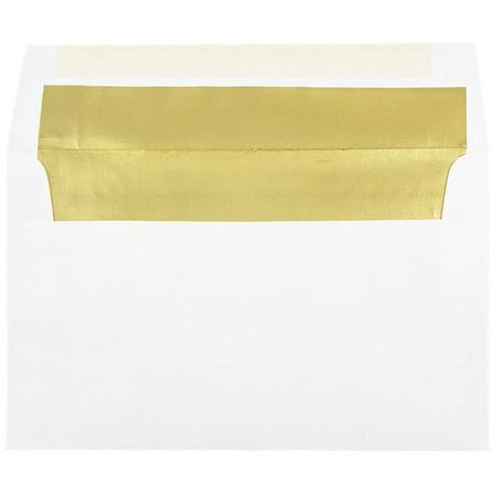 JAM Paper A10 Foil Lined Envelopes, 6 x 9 1/2, White with Gold Foil Lining, - 2 Tin Envelopes