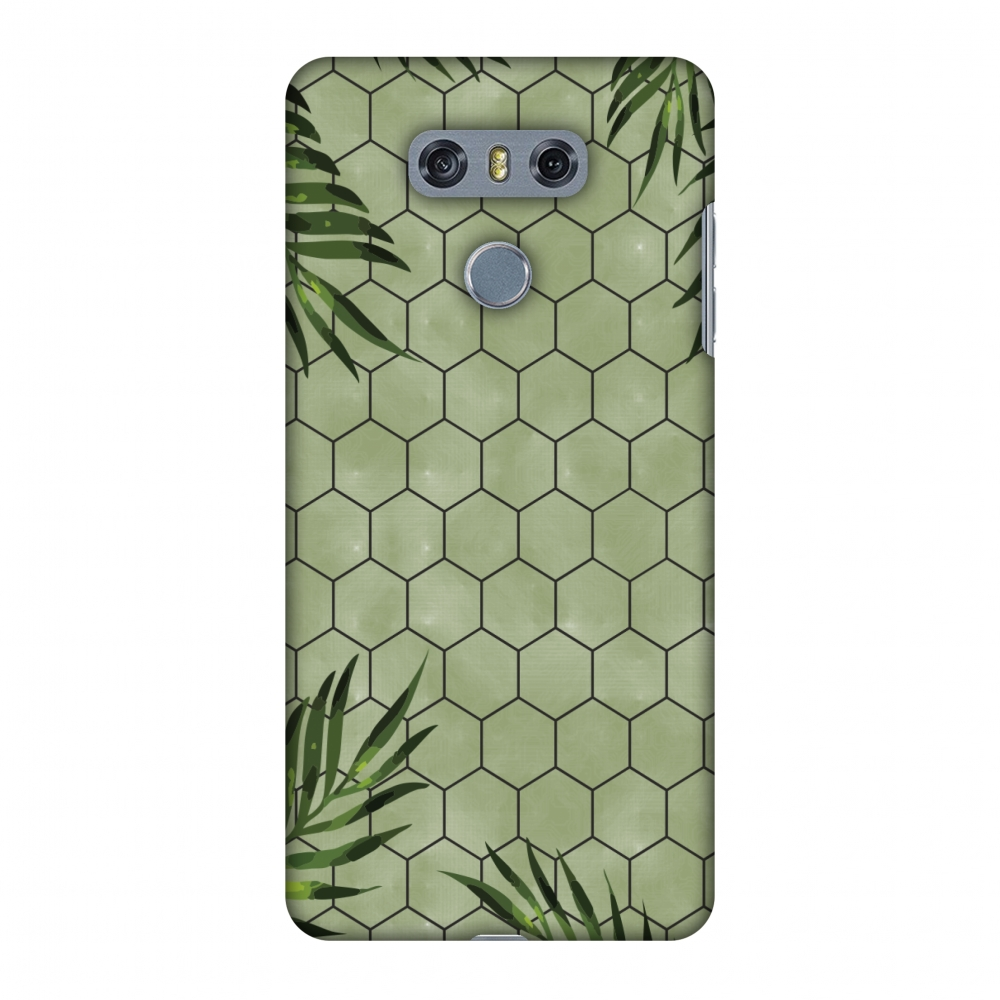 LG G6 Case, LG G6 Plus Case - Ferns Over Honeycomb - Green,Hard Plastic Back Cover, Slim Profile Cute Printed Designer Snap on Case with Screen Cleaning Kit