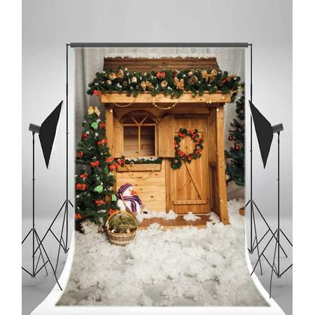 GreenDecor Polyester Fabric Christmas Backdrop 5x7ft Photography Backdrop Santa's Workshop Xmas Trees Decoration Snowman Garland Party Children Kids Baby Video Studio Photos Props