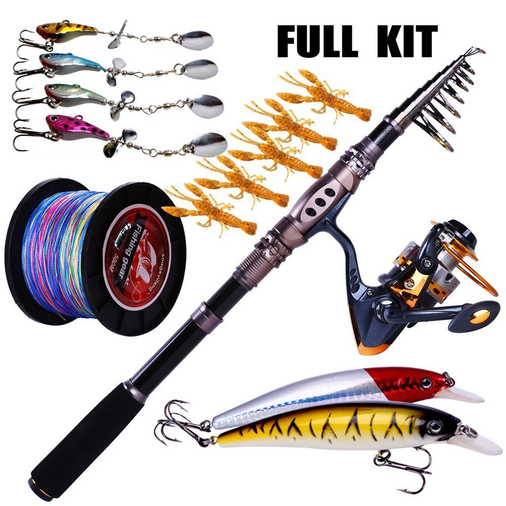 Click here to buy Sougayilang Fishing Rod Reel Combos Telescopic Fishing Pole and Reel Line Lure Fishing Full Kit.