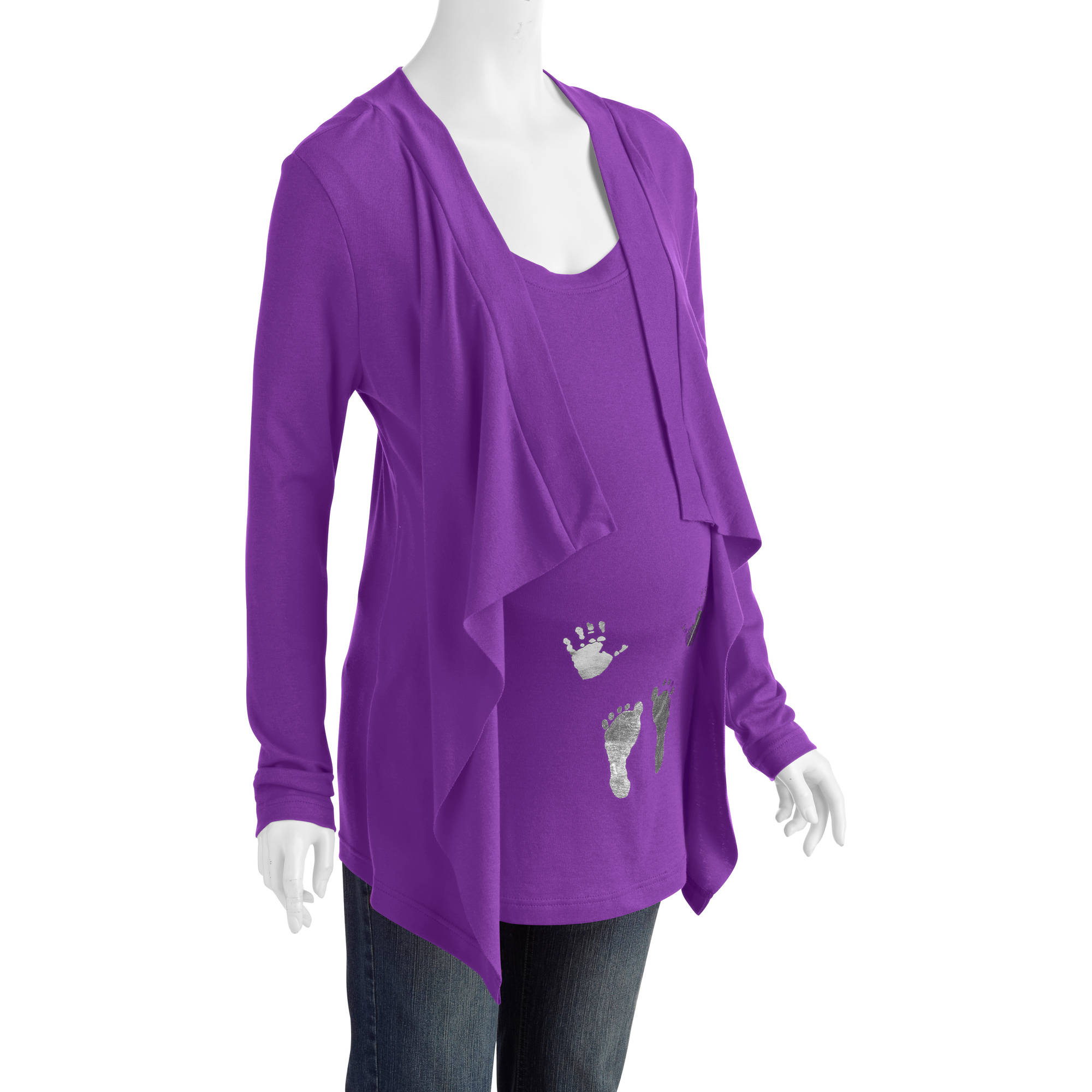 Maternity Hands and Feet Cardigan 2-Fer