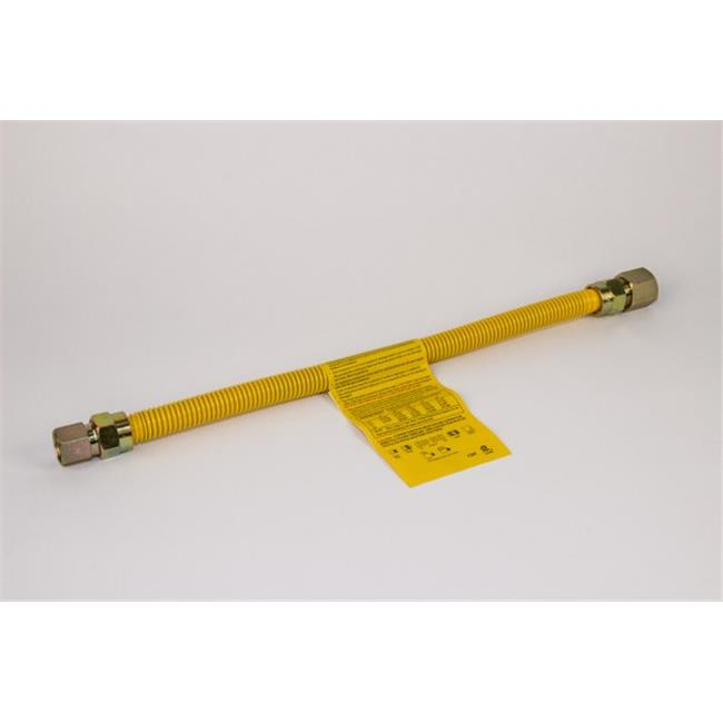 Charman 800-38-C6-60 Yellow Coated Gas Connector with Straight Ball Valve - 3/8 inch OD 1/2 inch MIP x 1/2 inch FIP - 60