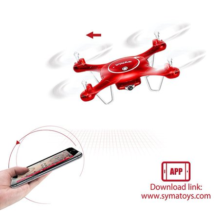 Syma X5UW Wifi FPV 720P HD Camera Quadcopter Drone with Flight Plan Route App Control & Altitude Hold Function Red