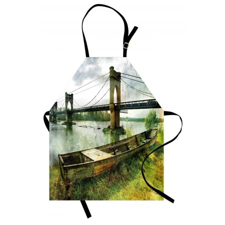Landscape Apron Bridge and Old Boat on Riverside Distressed Paint Style Nostalgic City Picture, Unisex Kitchen Bib Apron with Adjustable Neck for Cooking Baking Gardening, Green Grey, by Ambesonne - Bake On Paint