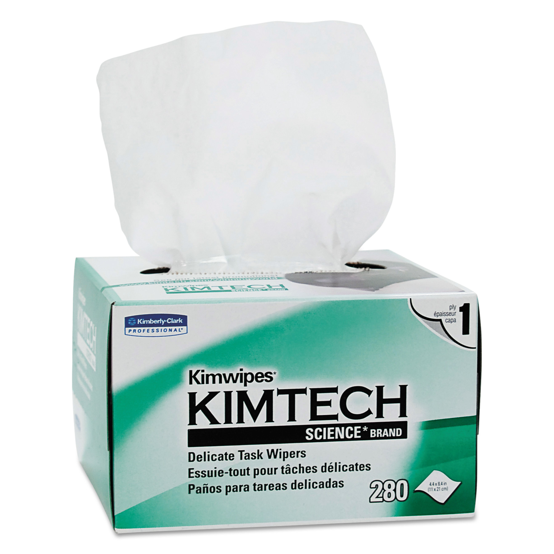 Kimtech* KIMWIPES Delicate Task Wipers, 1-Ply, 4 2/5 x 8 2/5, 280/Box, 30 Boxes/Carton