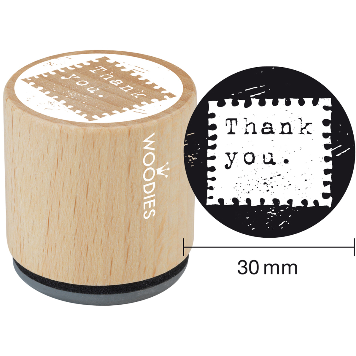 "Woodies Mounted Rubber Stamp 1.35""-Thank You"