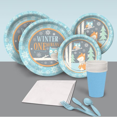 Blue Winter One-derland Party Pack for 8 - Winter Themes For Parties