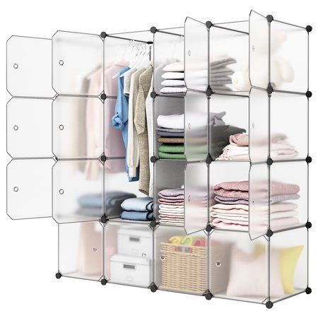 LANGRIA 16-Cube Organizer Stackable Plastic Cube Storage Shelves Design Multifunctional Modular Closet Cabinet with Hanging Rod for Clothes Shoes Toys Bedroom Living Room