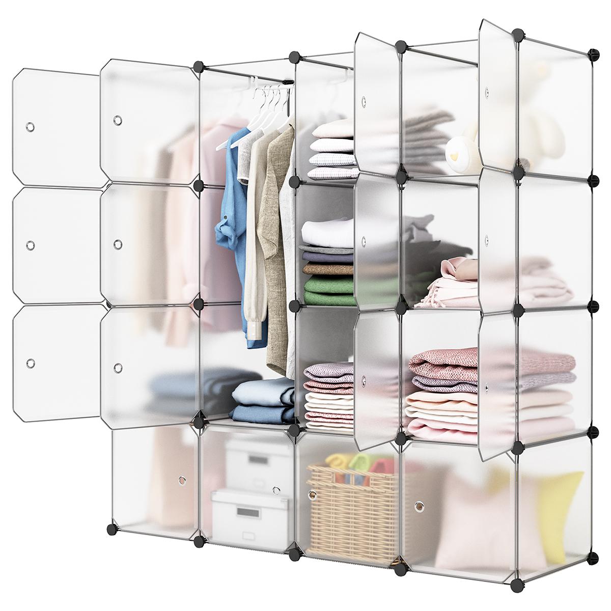 LANGRIA 20-Cube DIY Plastic Shoe Rack Modular Shelving Storage Organizer Cabinet Translucent White
