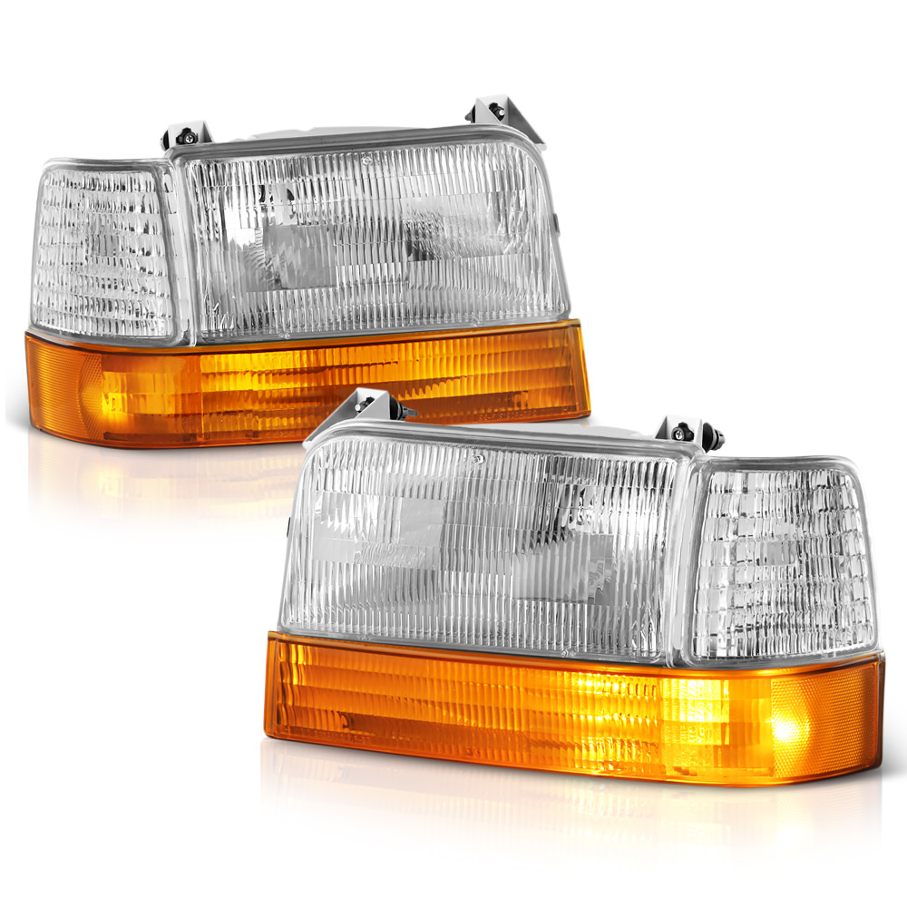 VIPMOTOZ OE-Style Headlight & Corner Side Marker Lamp Assembly For 1992-1996 Ford Bronco & F-150 F-250 F-350 Pickup Truck, Driver & Passenger Side