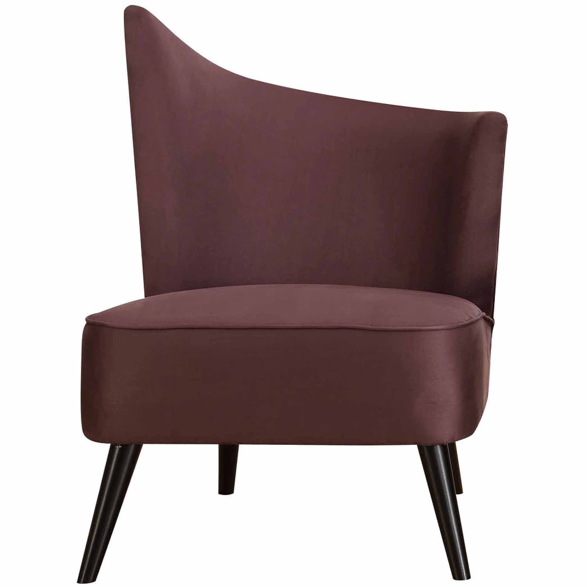 Elegant Accent Chair with Flaired Back, Purple Microfiber (Box 1 of 2)