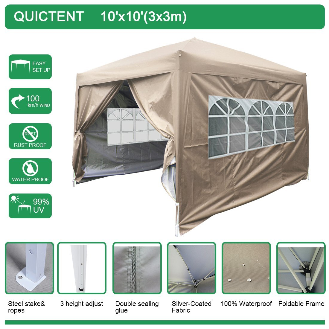 Quictent Waterproof 10x10' EZ Pop Up Canopy Gazebo Party Tent Beige Portable with Removable Sides and Heavy Duty Bag by